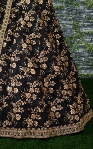 Black Thai Silk Latest Indian Party Lehenga Choli Online Shopping