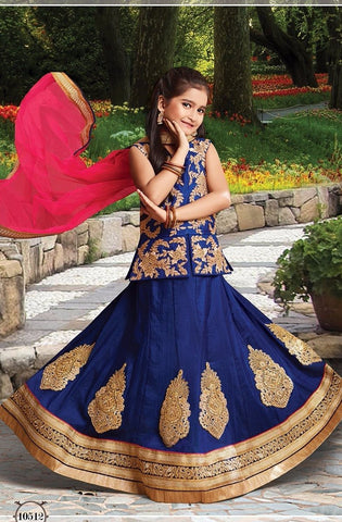 Dark Blue Girls Latest Lehenga Set