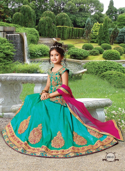Sea Green Girls Ethnic Lehenga Design Online