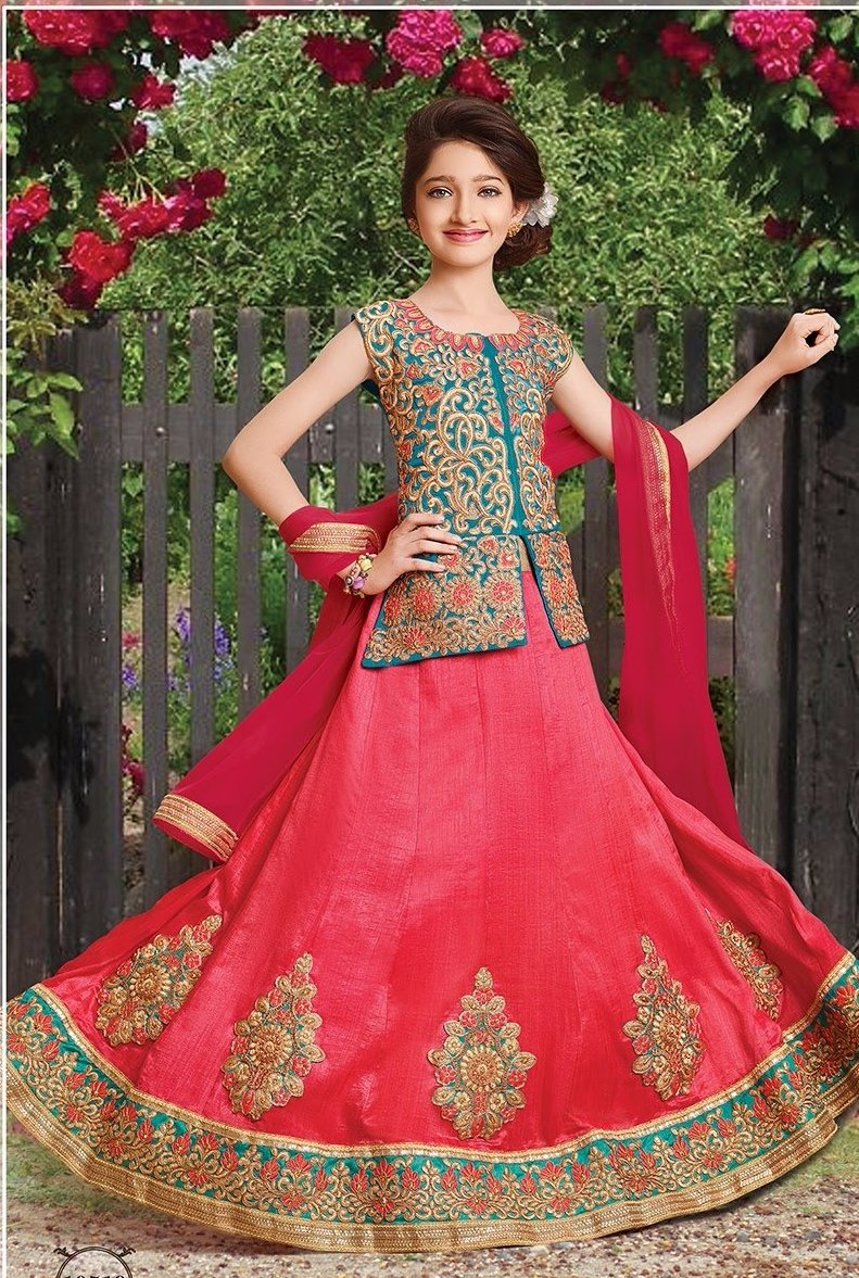 Girls Pink Ghagra Choli Dress Online Shopping