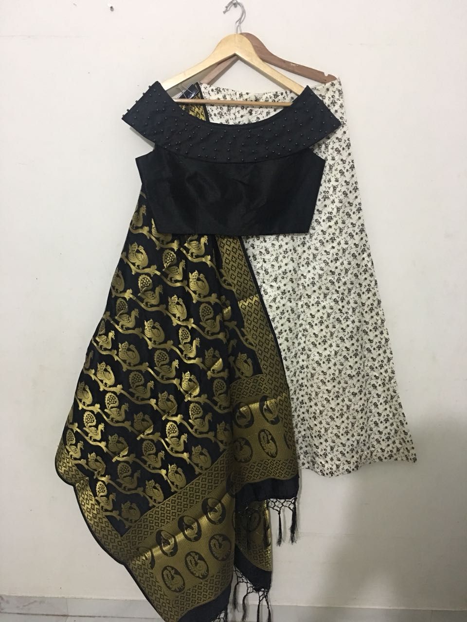 Off White Pattern Printed Designs Indian Fashion Lehenga Blouse Online