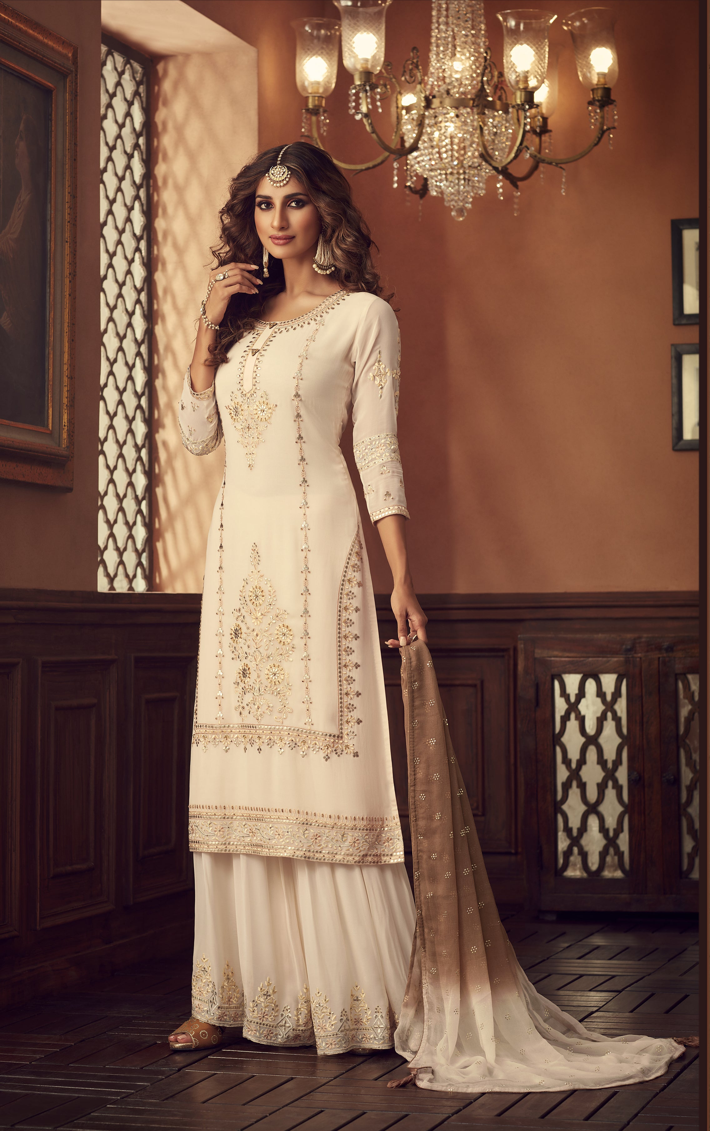 Off White Embroidered Georgette Sharara Suit Indian Shalwar Kameez