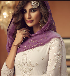 White Embroidered Georgette Pakistani Style Latest Sharara Suits Online