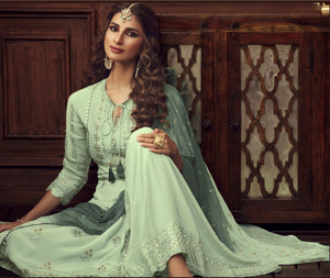 Sage Green Embroidered Georgette Sharara New Pakistani Style Salwar Suit