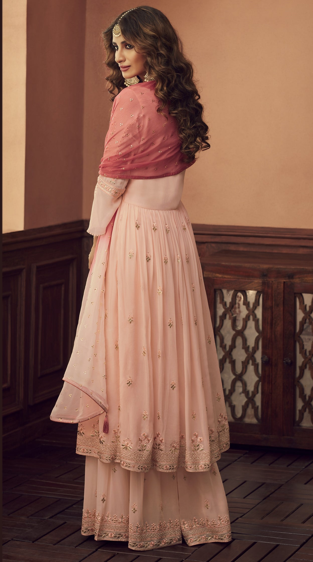 Peach Embroidered Georgette Latest Sharara Suit Shopping Online