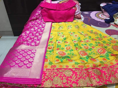 Yellow Pink Banarasi Brocade Indian Choli Design For Lehenga