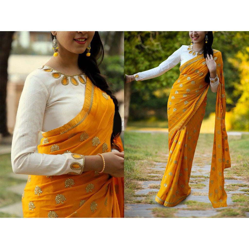 Yellow Georgette Embroidered Saree Bollywood Dresses Replicas