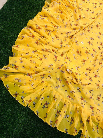 Yellow Georgette Digital Print Ruffle Saree Blouse Online India