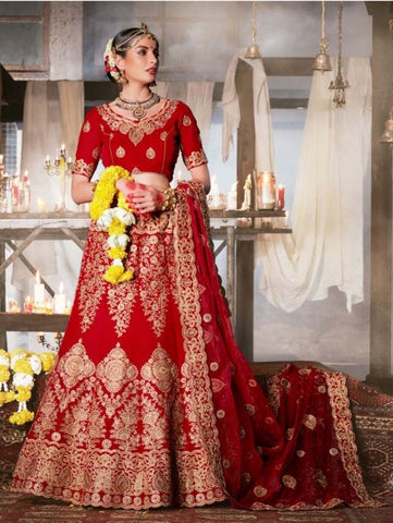 Red Velvet Beautiful Bridal Wear Lehenga Choli ,Indian Dresses - 2
