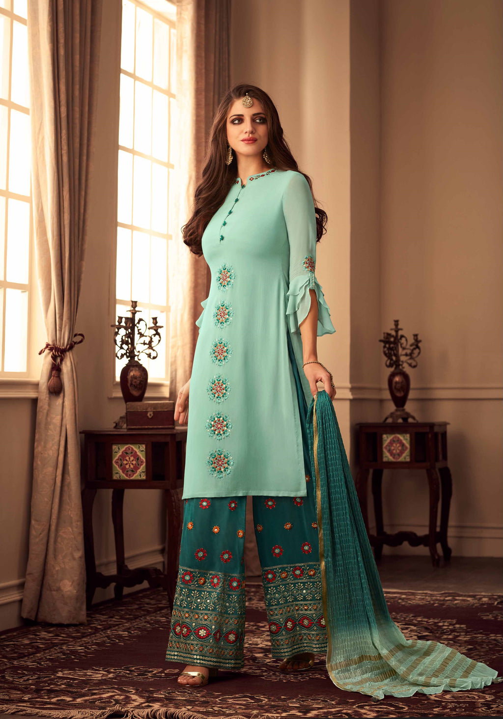 Sea Green Georgette Pakistani Salwar Kameez Online Shopping