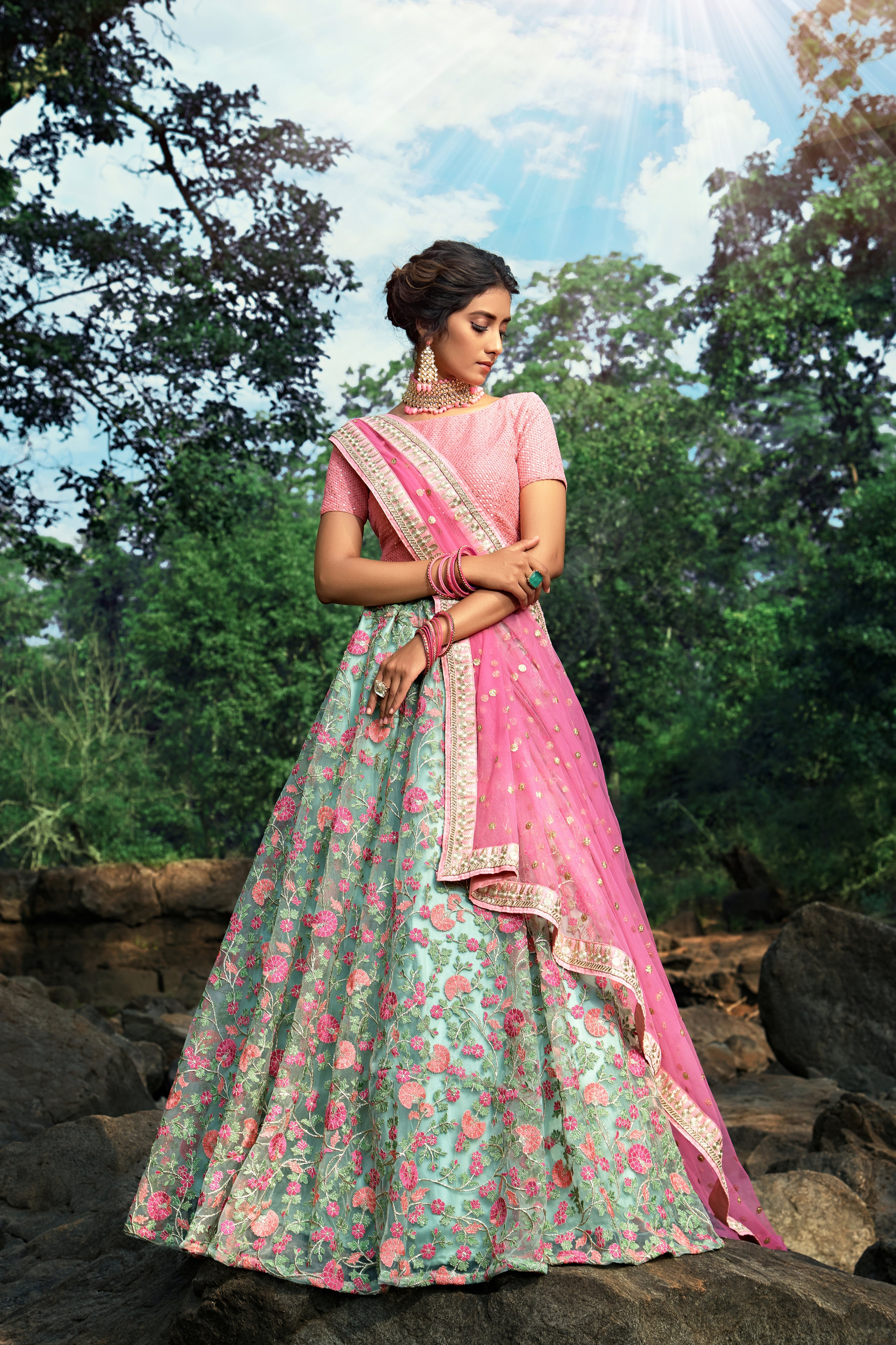 Mint Green Embroidered Net Lehenga Online Shopping India