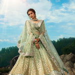 Mint Green Embroidered Net Wedding Lehenga Online Shopping