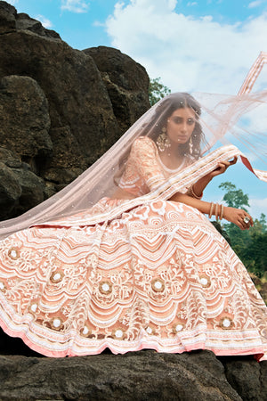 Peach Embroidered Net Wedding Lehenga Choli With Price