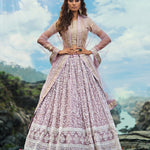 Pale Mauve Embroidered Beautiful Wedding Lehenga With Price