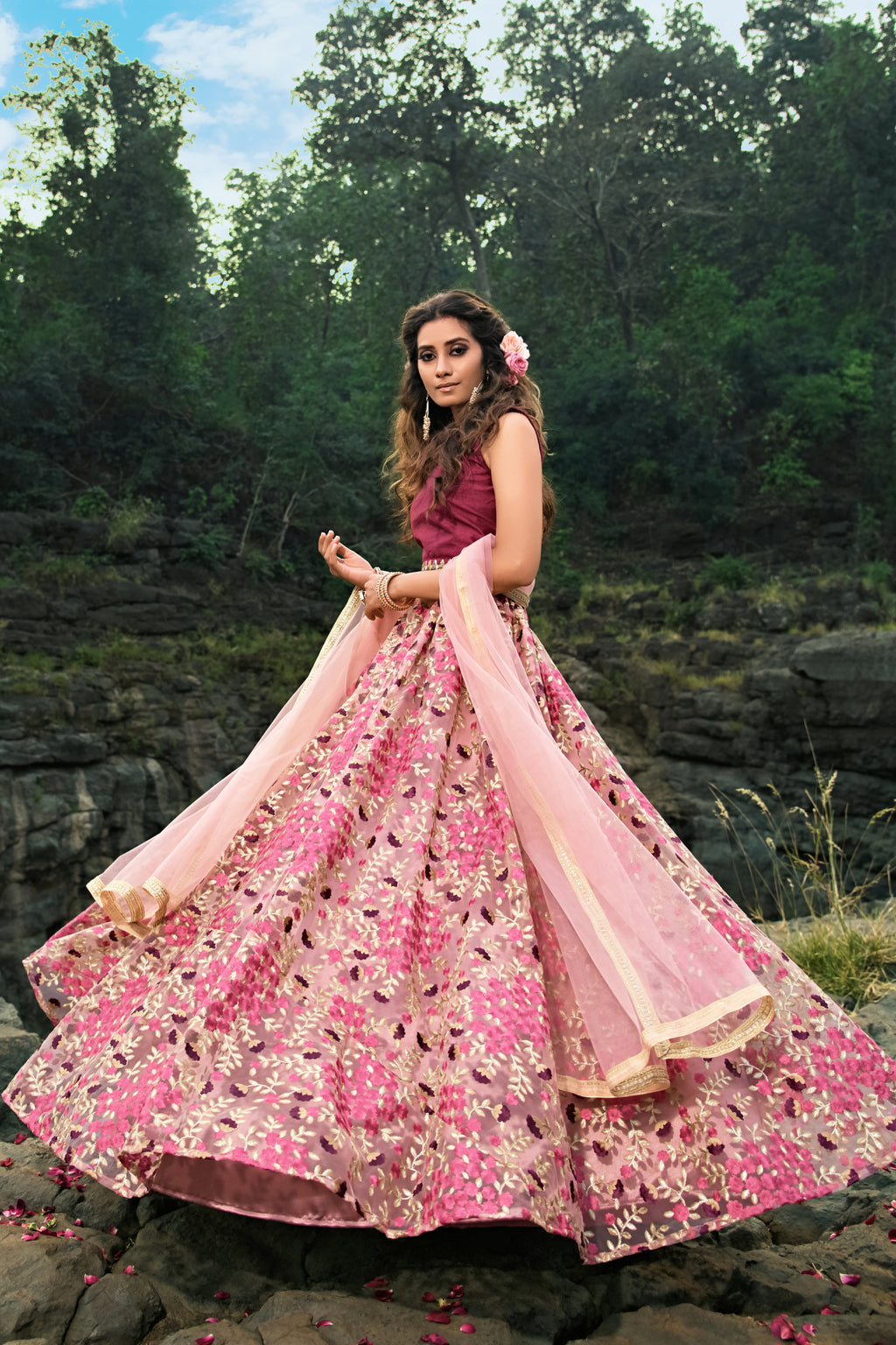 Pink Net Flower Embroidery Beautiful Lehenga Choli Dress
