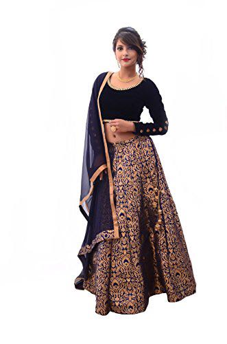 Blue And Gold Banarsi Brocade Indian Lehengas Online Shopping