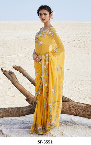 Yellow Georgette Embroidered Fancy Sarees Online Shopping With Price