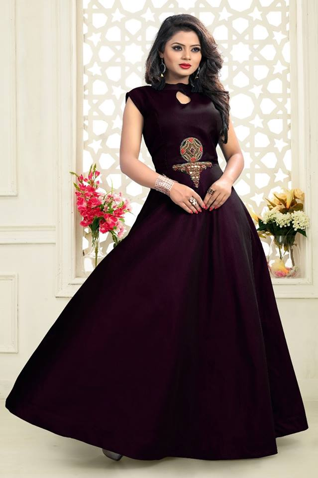 Deep Purple Taffeta Floor Lenth Gown Online Shopping