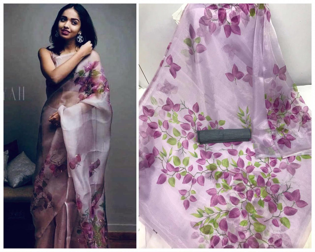 Purple Floral Digital Printed Latest Organza Saree and Blouse Set