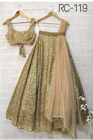 Golden Net Zari Sequins Embroidery Lengha Choli Fashion Dress