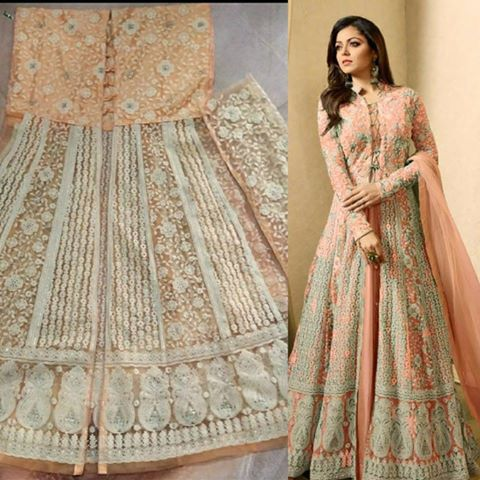 Peach Net Long Choli Lehenga Suits India Online