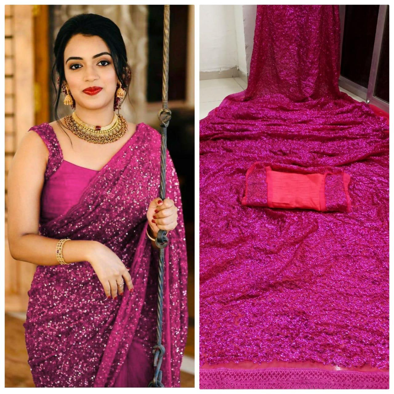 Magenta Georgette Sequins Fashion Sarees Online Shopping