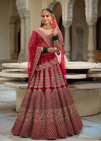 Rose Pink Embroidered Banarsi Silk Wedding Lehenga Online