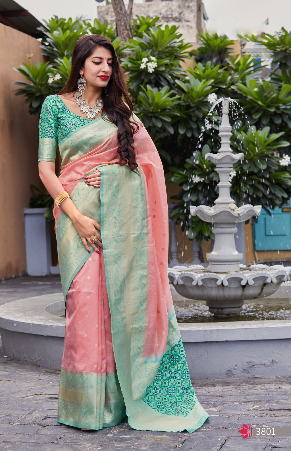 Peach Banarasi Silk Saree Designs Online Shopping