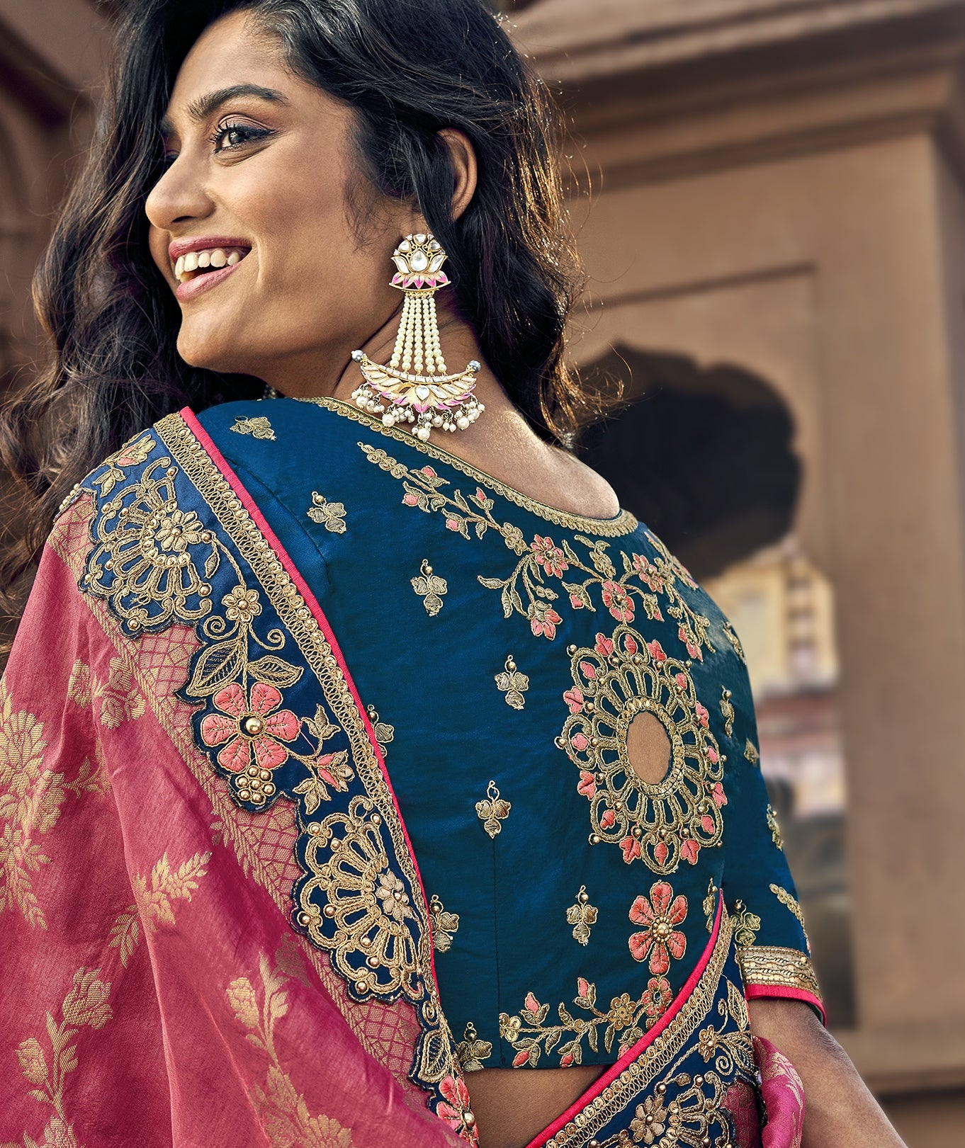 Pink and Teal Blue Half and Half Wedding Saree Online
