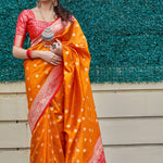Orange Banarasi Silk New Model Sarees Online Shopping