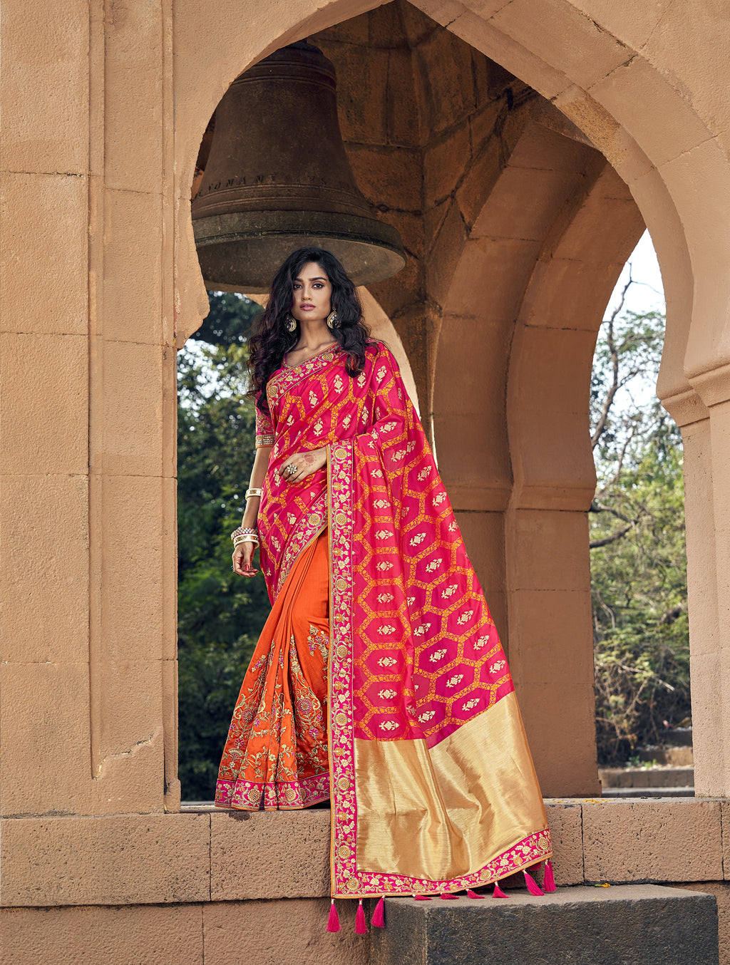 Fuchsia and Orange Indian Half N Half Wedding Sarees Online