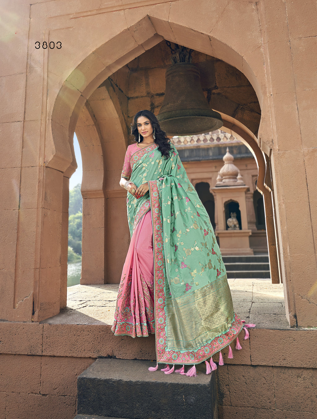 Sea Green and Pink Half N Half Indian Wedding Saree Online