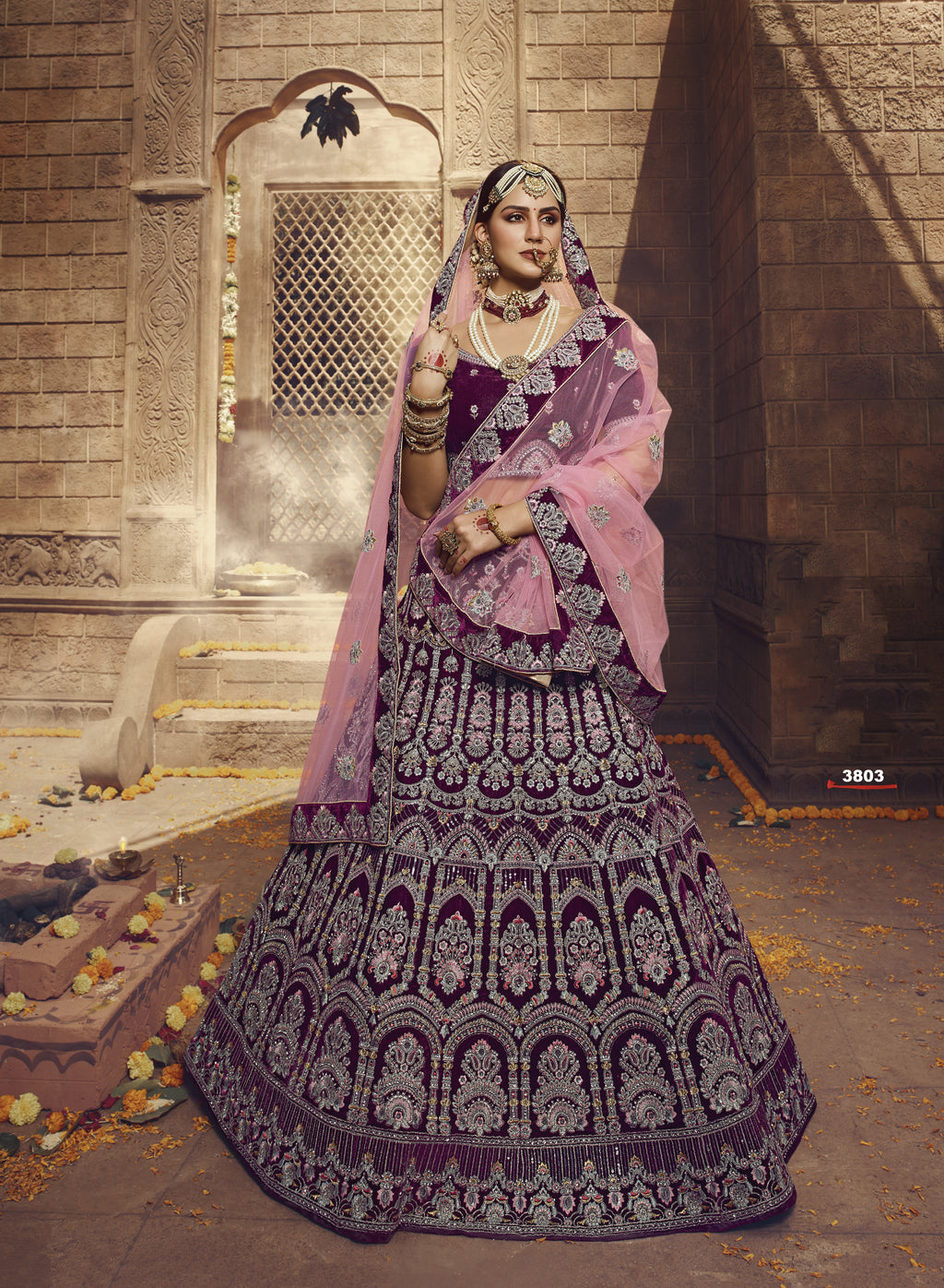 Wine Color Velvet Embroidered Bridal Lehenga Choli Online
