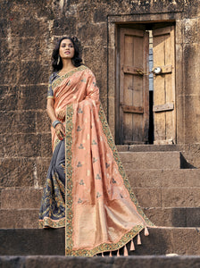 Peach and Grey Half N Half Wedding Saree Shopping Online