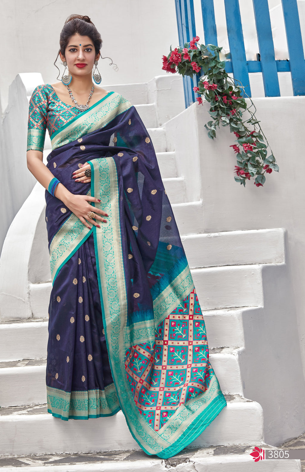 Navy Blue Banarasi Silk Latest Fashion Sarees Online