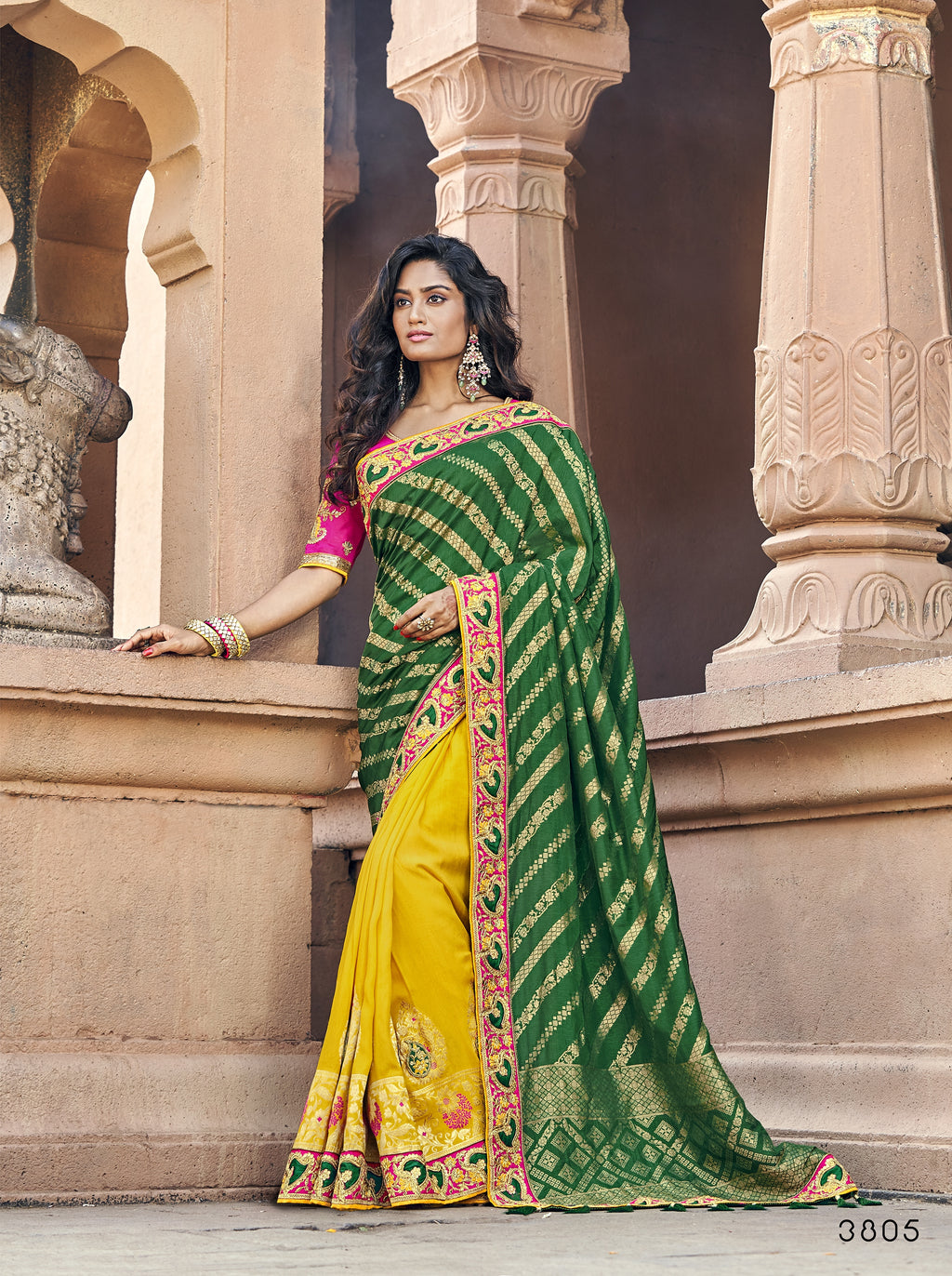 Green and Mustard Half N Half Wedding Sarees Online Purchase