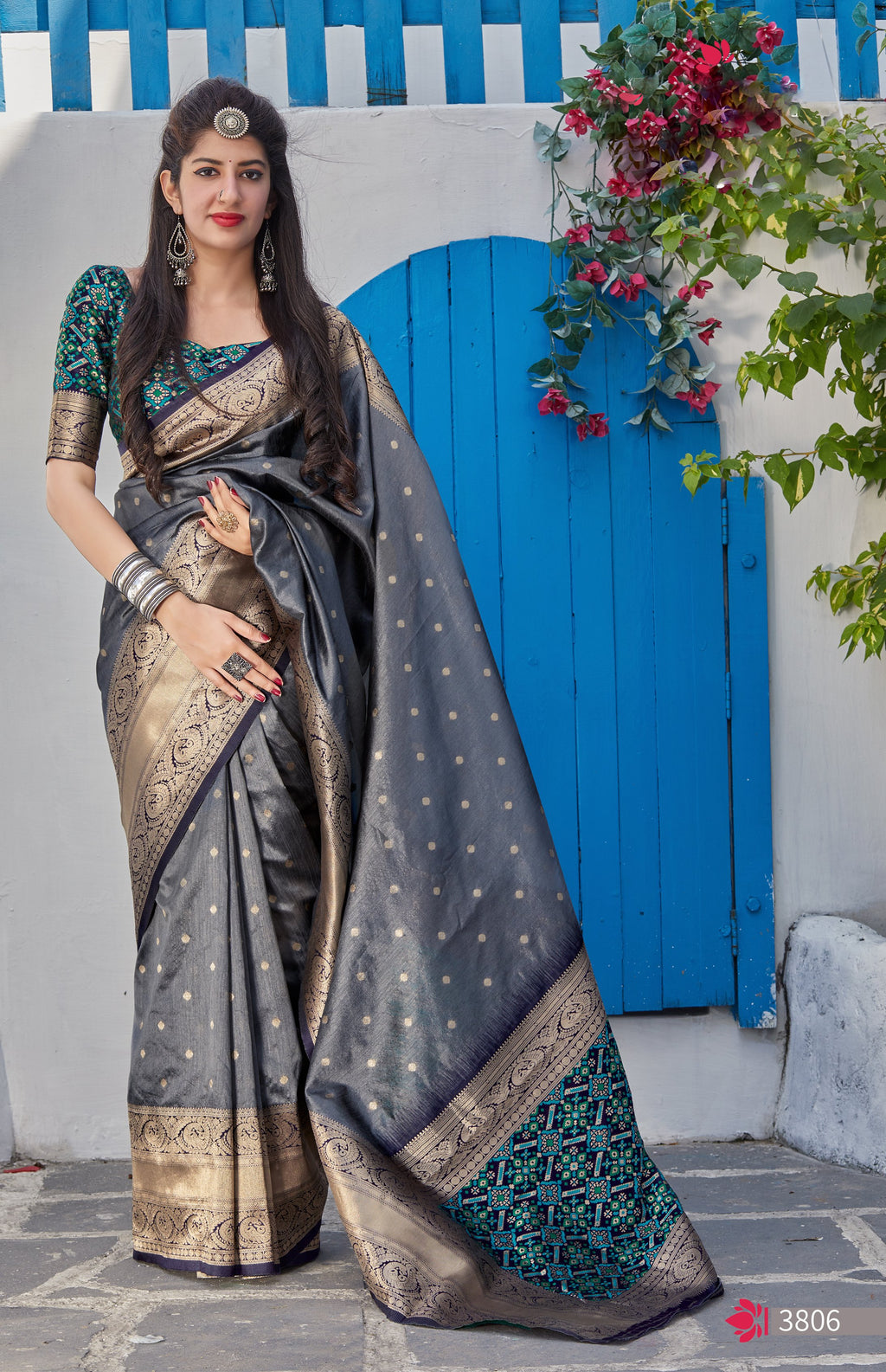Grey Banarasi Silk Sarees Collection Online Purchase