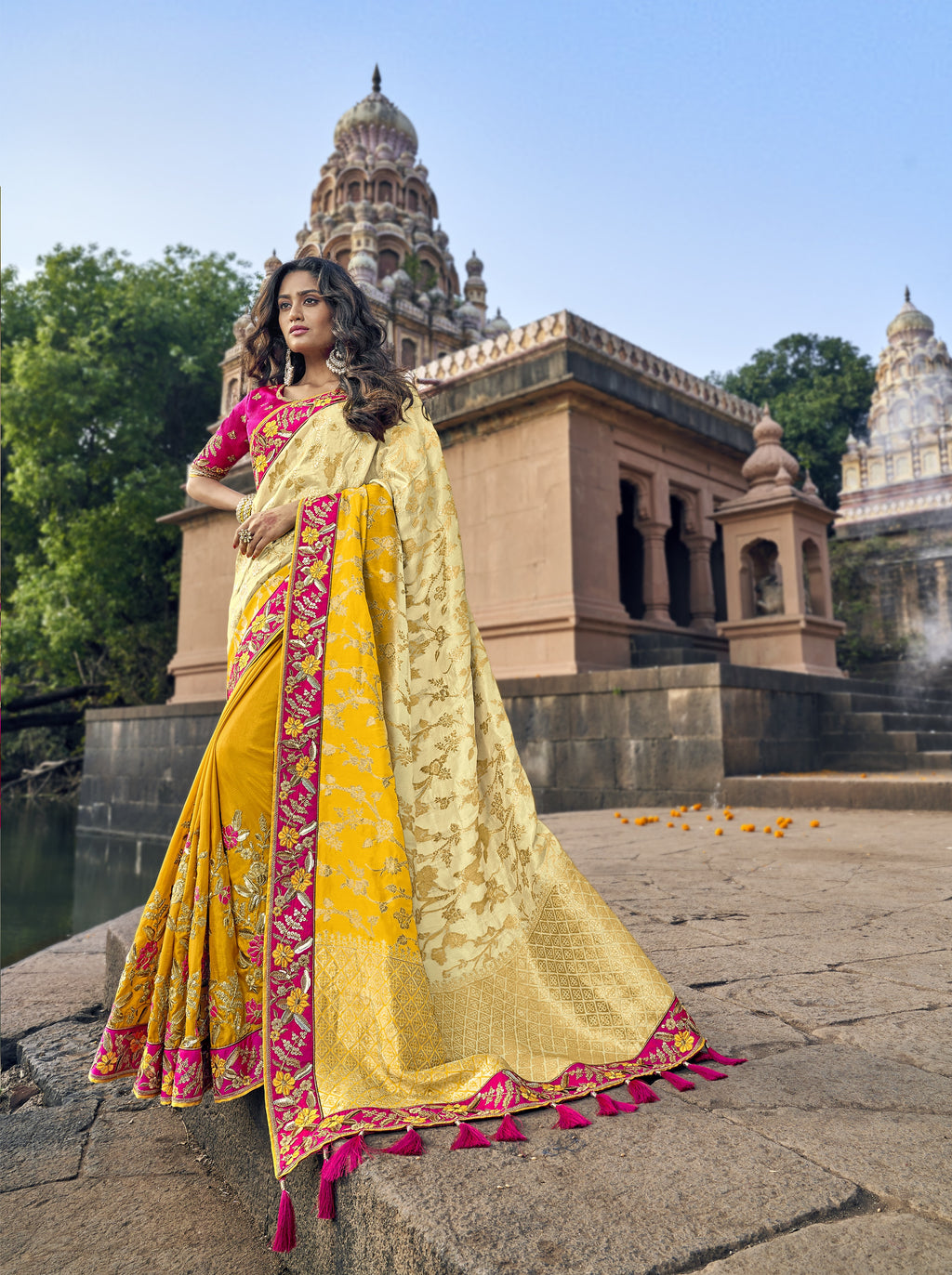 Beige and Yellow Half N Half Wedding Online Fashion Sarees