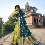 Teal Blue and Pistachio Green Half N Half New Saree Collection