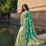 Green and Sea Green Half N Half Sarees Collection With Price