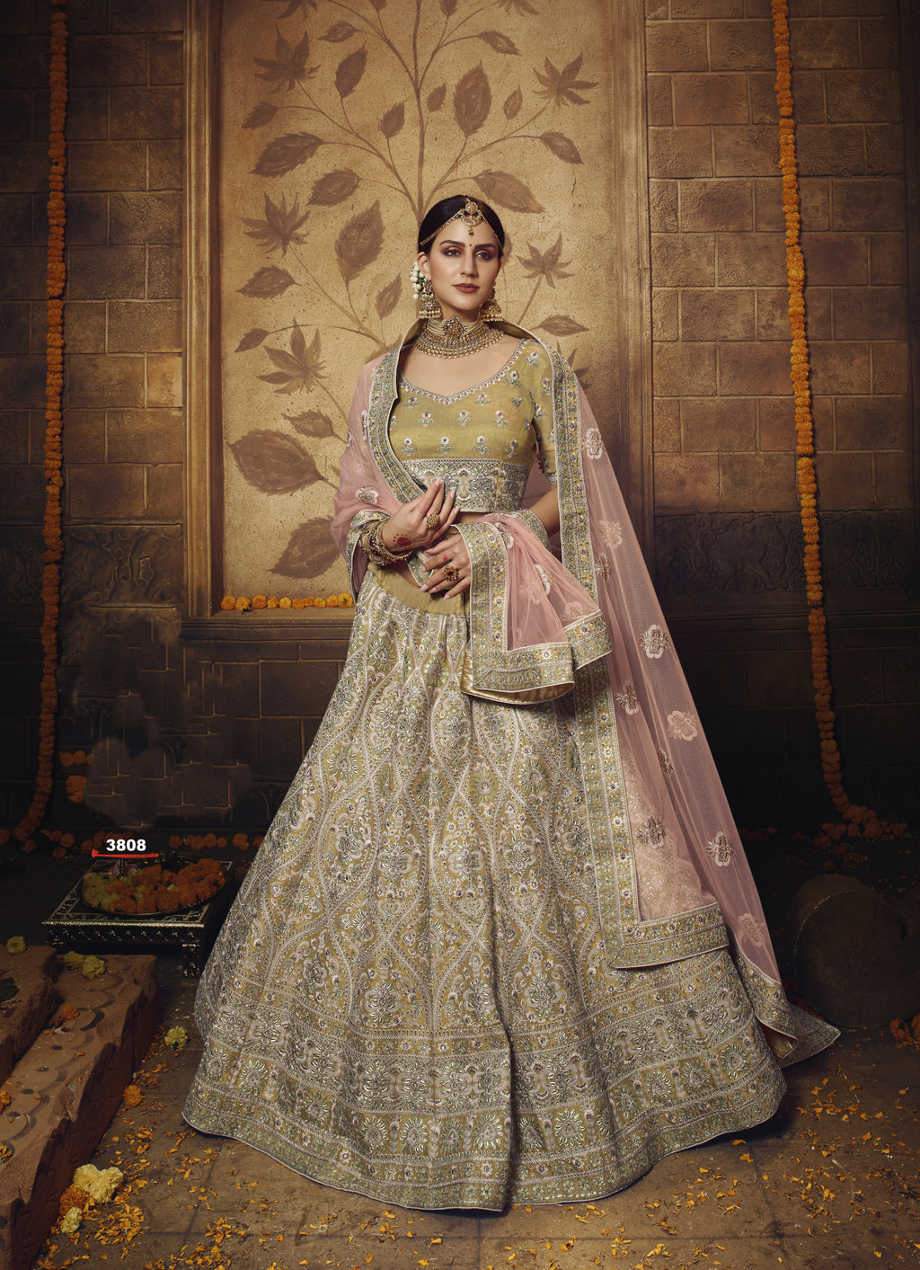 Old Gold Colour Embroidered Silk Lehenga Choli For Wedding
