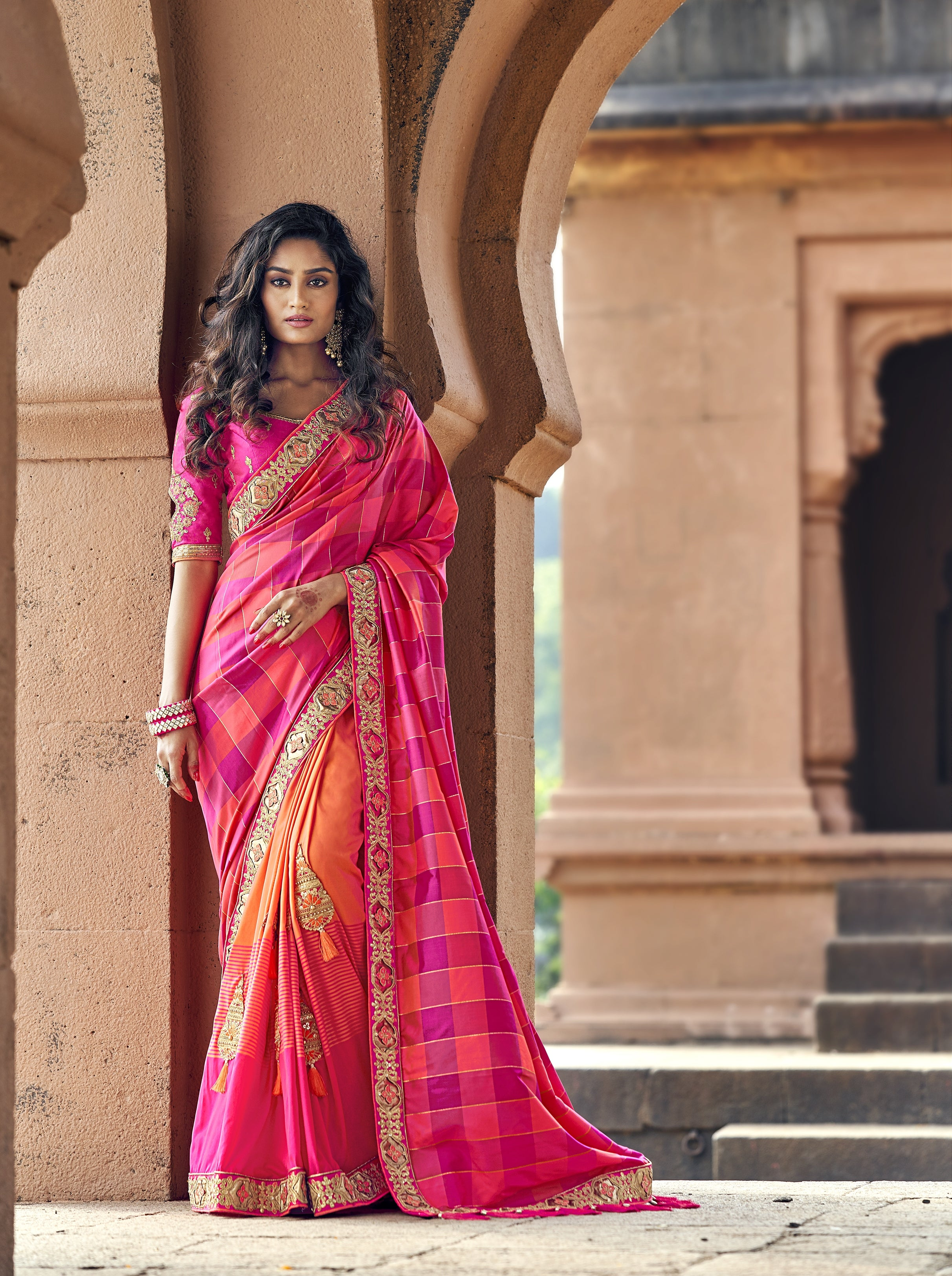 Fuchsia and Orange Half N Half Fashion Sarees Online Shopping
