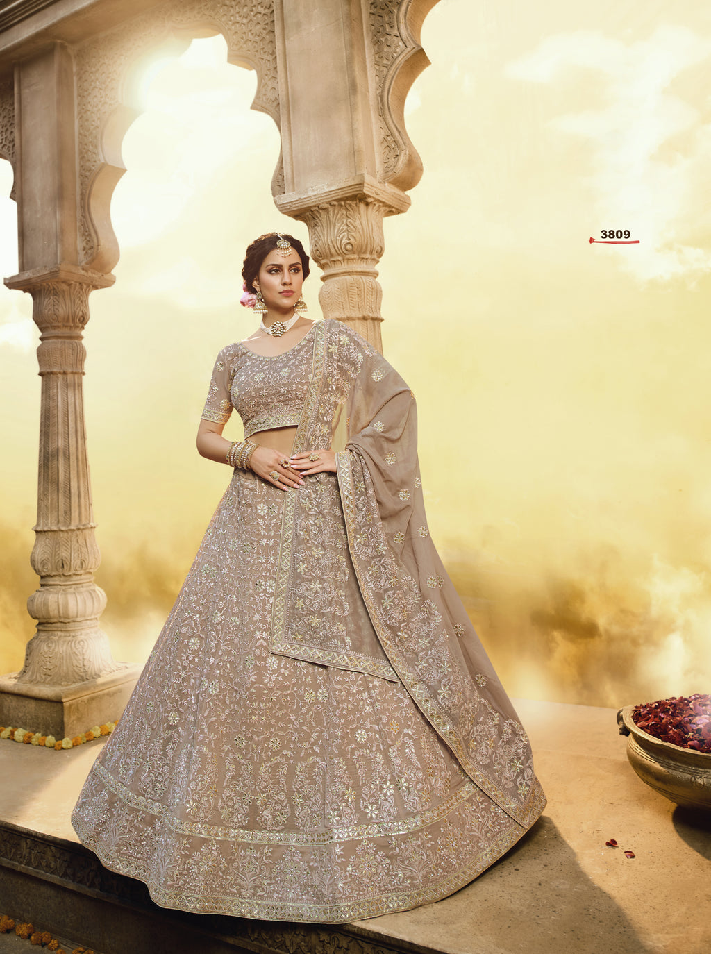 Beige Embroidered Georgette New Wdding Lehenga Choli