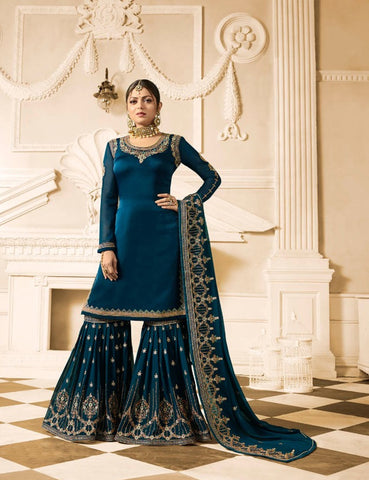 Drashti Dhami Blue Sharara Suits Pakistani Kameez Shalwar