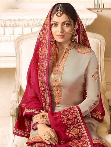 Drashti Dhami Beige Sharara Suits New Designs In Salwar Kameez