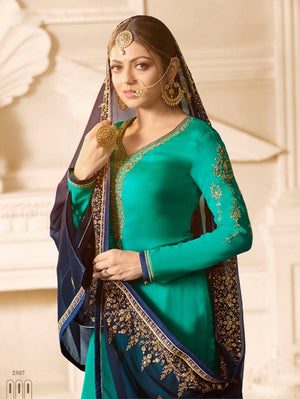Drashti Dhami Sea Green Sharara Suit Latest Party Wear Salwars Online