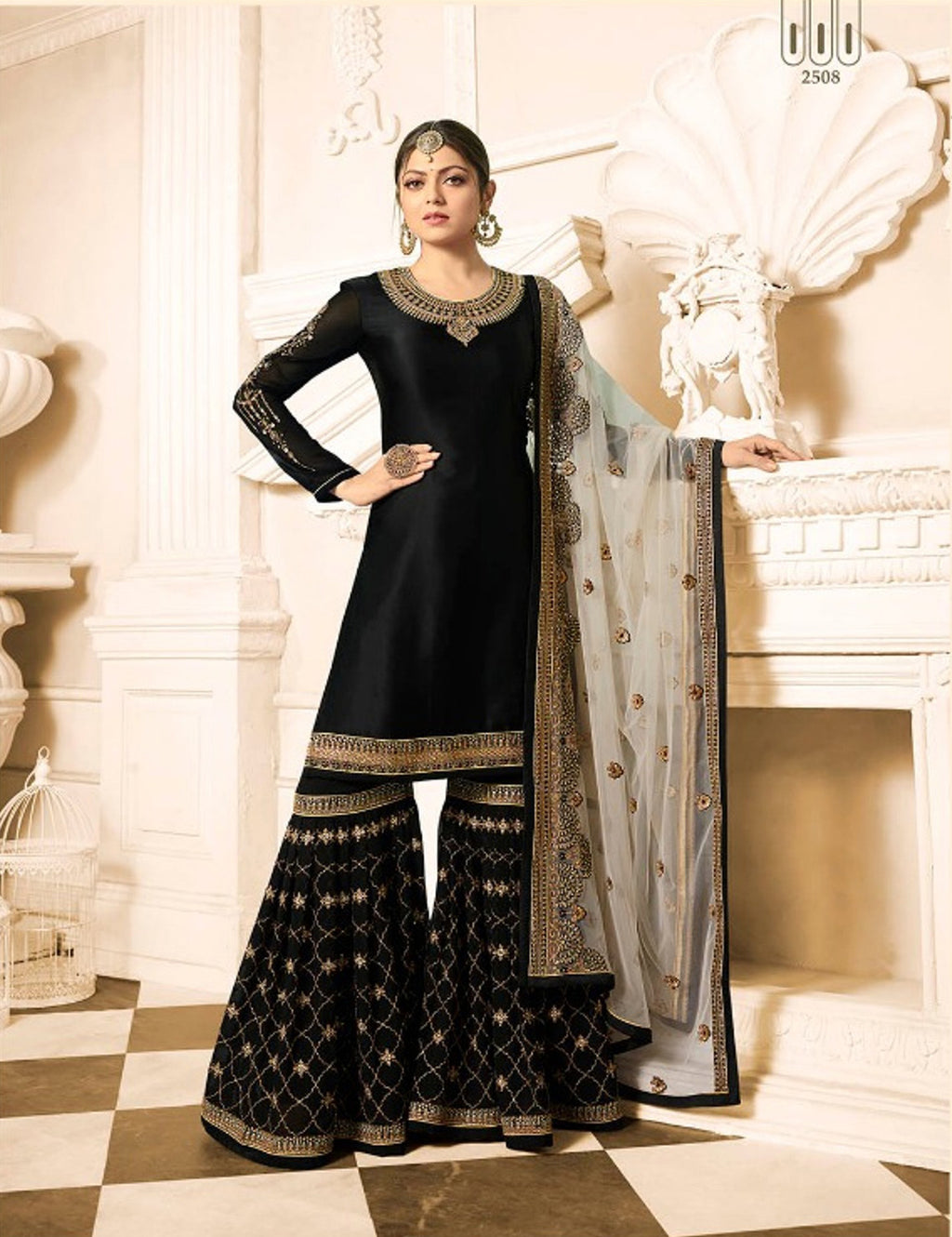 Drashti Dhami Black Sharara  Pakistani Salwar Kameez Fashion