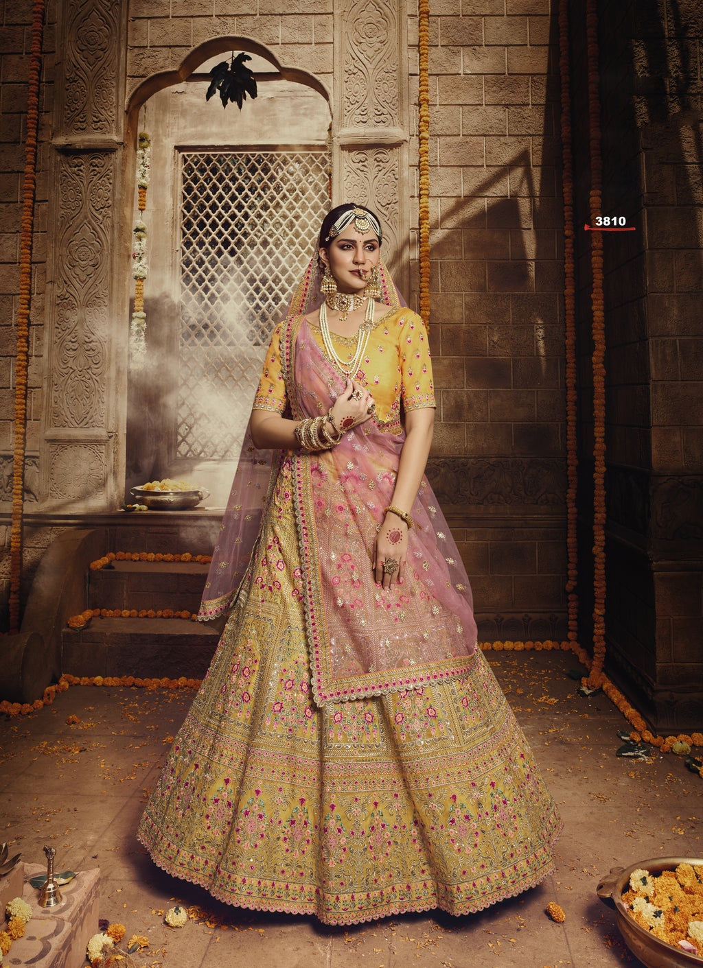 Mustard Organza Embroidered Wedding Lehenga Price In India