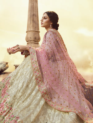 Cream Georgette Embroidered Latest Style Of Wedding Lehenga