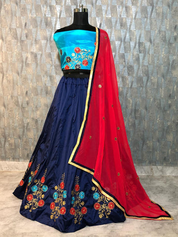 Navy Blue Taffeta Silk Embroidered New Lehenga Choli Online